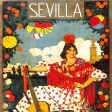 Coleccionismo de carteles: CUADRO CARTEL (EN MADERA): SEMANA SANTA FERIA DE SEVILLA AÑO 1919. REPRODUCCION. 100X70 CM. Lote 32807228