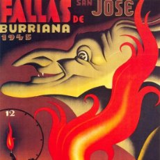 Coleccionismo de carteles: ANTIGUO CUADRO CARTEL (EN MADERA): FALLAS DE BURRIANA EN VALENCIA. AÑO 1945.REPRODUCCION 80X60CM. Lote 32807628