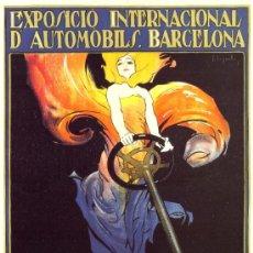 Coleccionismo de carteles: ANTIGUO CUADRO CARTEL (EN MADERA): FERIA DEL AUTOMOVIL DE BARCELONA 1922. REPRODUCCION 100X70 CM. Lote 32807635