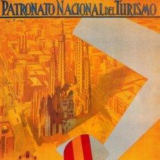 Coleccionismo de carteles: ANTIGUO CUADRO CARTEL (EN MADERA): TURISTICO DE BARCELONA. REPRODUCCION 50X70 CM. Lote 32807642