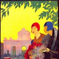 Collezionismo di affissi: ANTIGUO CUADRO CARTEL (EN MADERA): TURISMO EN MADRID EN PRIMAVERA. AÑO 1920. REPRODUCCIÓN 100X70 CM. Lote 32807836