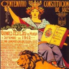 Coleccionismo de carteles: ANTIGUO CUADRO CARTEL (EN MADERA). CENTENARIO DE LA CONSTITUCIÓN. AÑO 1912. REPRODUCCIÓN 50X70 CM. Lote 196543257