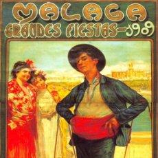 Coleccionismo de carteles: ANTIGUO CUADRO CARTEL (EN MADERA). CENACHERO. FERIA DE MALAGA AÑO 1909 . REPRODUCCIÓN 100X50 CM. Lote 160042480
