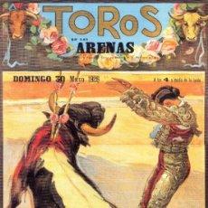 Coleccionismo de carteles: ANTIGUO CUADRO CARTEL (EN MADERA). TOROS EN LAS ARENAS. BARCELONA. AÑO 1926. REPRODUCCIÓN 50X70 CM. Lote 32807924