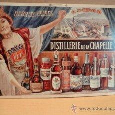 Coleccionismo de carteles: REPRODUCCIÓN DE CARTEL SOBRE CARTÓN. DEBRISE FRÉRES. DISTILLERIE DE LA CHAPELLE. 55 X 36 CM.. Lote 38176514