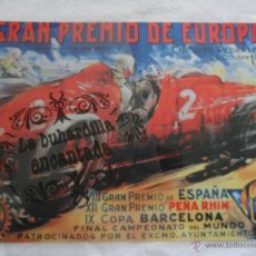 Coleccionismo de carteles: PUBLICIDAD - REPRODUCCIÓN DE CARTEL CIRCUITO PEDRALBES - TAMAÑO APROX. 27 CM X 40 CM - PLASTIFICADO. Lote 42253303