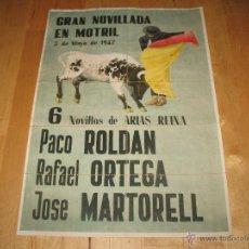 Coleccionismo de carteles: ENTRADAS DE TOROS CARTEL TAMAÑO DIN-A4 3 DE MAYO DE 1947 GRAN NOVILLADA EN MOTRIL 6 NOVILLOS. Lote 39789390