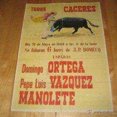 Coleccionismo de carteles: ENTRADAS DE TOROS CARTEL TAMAÑO DIN-A4 31 DE MAYO DE 1944 CÁCERES DOMINGO ORTEGA PEPE LUIS VAZQUEZ. Lote 39789467