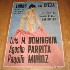 Coleccionismo de carteles: ENTRADAS DE TOROS CARTEL TAMAÑO DIN-A4 26 DE AGOSTO DE 1947 CIEZA ANTONIO PÉREZ TABERNERO. Lote 39789486