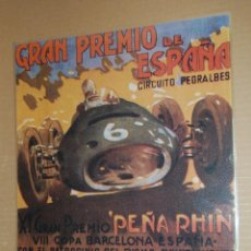 Colecionismo de cartazes: CARTEL - CIRCUITO PEDRALBES 1951 - ES REPRODUCCION TAMAÑO 39 X 29 CM PLASTIFICADA LISTA PARA COLGAR. Lote 42509973