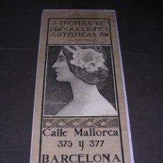 Coleccionismo de carteles: (M) ANTIGUO CARTEL J. THOMAS REPRODUCCIONES ARTISTICAS ILUSTRADO POR A. DE RIQUER 1899 - BELLEZZA. Lote 43910692