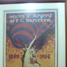 Coleccionismo de carteles: LITOGRAFIA REPRODUCCIÓN CARTEL NOCES ARGENT BARÇA 1899 1924 FUTBOL CLUB BARCELONA . ENMARCADA 43/30. Lote 43980249