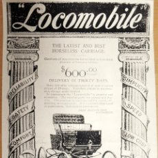 Coleccionismo de carteles: REPRODUCCION DE CARTEL ANTIGUO DE PUBLICIDAD DE COCHE LOCOMOBILE PAPAEL FINO MADIDAS 42 X 30 CMS ENV. Lote 45621781