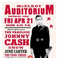 Collezionismo di affissi: JOHNNY CASH - AT THE MCELROY AUDITORIUM IN IOWA CONCERT POSTER 1967 !! CARTEL CONCIERTO 30X40. Lote 119046467