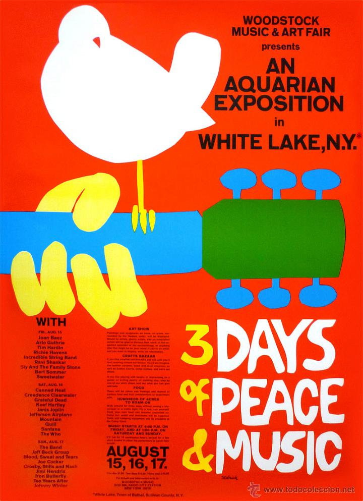 WOODSTOCK FESTIVAL !! CONCERT 15, 16, 17 AUGUST 1969 !! CARTEL CONCIERTO 30X40 !! (Coleccionismo - Reproducciones de carteles)