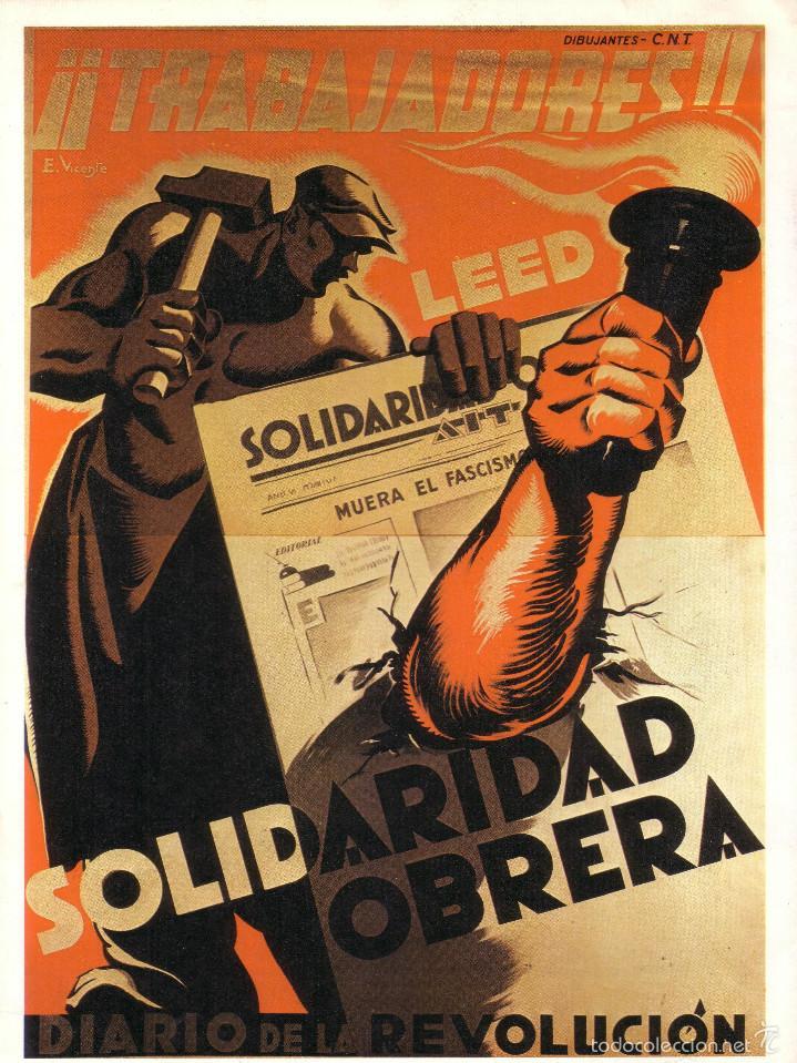 CARTEL GUERRA CIVIL * SOLIDARIDAD OBRERA * (REPRODUCCIÓN/COLECCIÓN ED. URBIÓN). PERFECTO ESTADO. (Coleccionismo - Reproducciones de carteles)