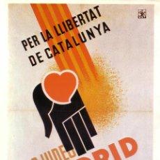 Coleccionismo de carteles: CARTEL GUERRA CIVIL * AJUDED MADRID * (REPRODUCCIÓN/COLECCIÓN ED. URBIÓN). PERFECTO ESTADO.. Lote 55800294