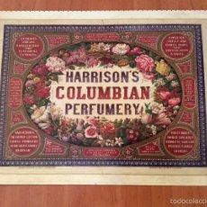 Coleccionismo de carteles: LAMINA REPRODUCCIÓN ANTIGUO CARTEL PUBLICITARIO. PERFUMERÍA HARRISON'S COLUMBIAN. Lote 56589610