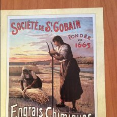 Coleccionismo de carteles: LAMINA REPRODUCCIÓN ANTIGUO CARTEL PUBLICITARIO. FERTILIZANTES PRODUCTOS QUÍMICOS, ST. GOBAIN. Lote 56594875