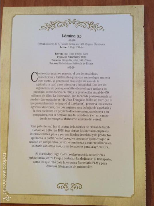 Coleccionismo de carteles: Lamina Reproducción Antiguo Cartel Publicitario. Fertilizantes Productos Químicos, St. Gobain - Foto 2 - 56594875