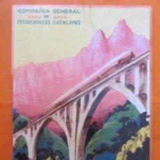Coleccionismo de carteles: CARTEL - REPRODUCCION ANTIGUA PUBLICIDAD COMPAÑIA GENERAL FERROCARRILES CATALANES 30 X 43 (INC.MARG. Lote 57607178