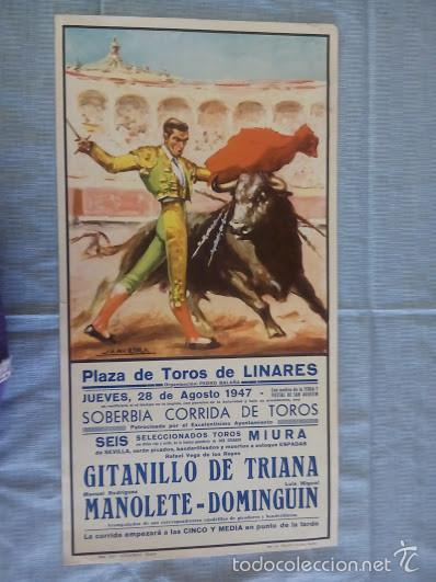 REPRODUCCION DE CARTEL DE TOROS DE MANOLETE,DOMINGUIN OFERTA DE ENVIO GRATIS LEER (Coleccionismo - Reproducciones de carteles)