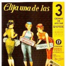 Colecionismo de cartazes: REPRODUCCION DE CARTEL ELIJA UNA DE LAS 3 CREMAS DE AFEITAR RAPIDE. 27X39,4CM. LAMIGRANDE-025. Lote 108237922