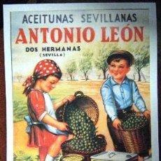 Colecionismo de cartazes: REPRODUCCION DE CARTEL ACEITUNAS SEVILLANAS ANTONIO LEON. 29X42CM. LAMIGRANDE-029. Lote 63507747