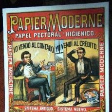 Coleccionismo de carteles: REPRODUCCION DE CARTEL PAPIER MODERNE. PAPEL PECTORAL E HIGIENICO. 29X42,5CM. LAMIGRANDE-032,5. Lote 175829770