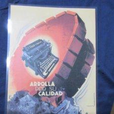 Coleccionismo de carteles: CARTEL - REPRODUCCION ANTIGUA PUBLICIDAD MAQUINA ESCRIBIR UNDERWOOD - 27 X 42 (INC.MARGENES) APROX. . Lote 68865209