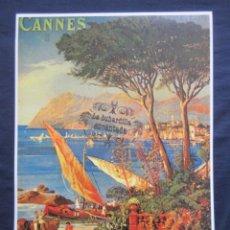 Coleccionismo de carteles: CARTEL - REPRODUCCION ANTIGUA PUBLICIDAD FERROCARRIL CHEMINS DE FER CANNES- TREN -45 X 32. Lote 71057629