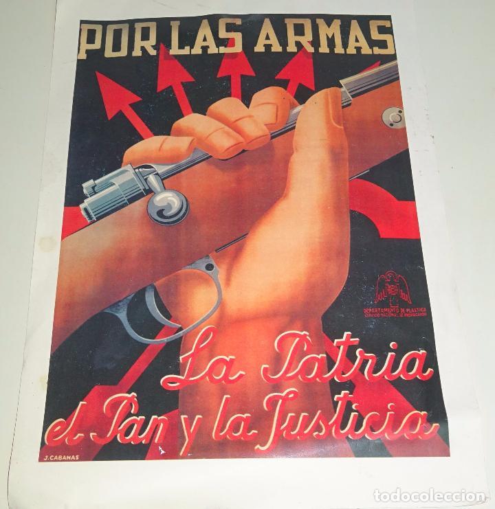 REPRODUCCIÓN CARTEL MILITAR GUERRA CIVIL. POR LAS ARMAS LA PATRIA, EL PAN Y LA JUSTICIA. 45 X 32 CM (Coleccionismo - Reproducciones de carteles)