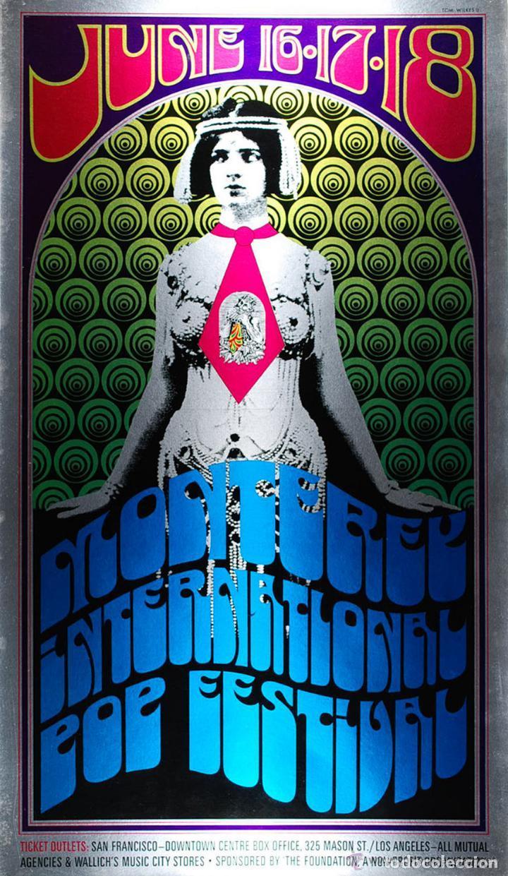 MONTEREY POP FESTIVAL - 16-17-18 JUNE 1968, CARTEL CONCIERTO 30X40 (Coleccionismo - Reproducciones de carteles)