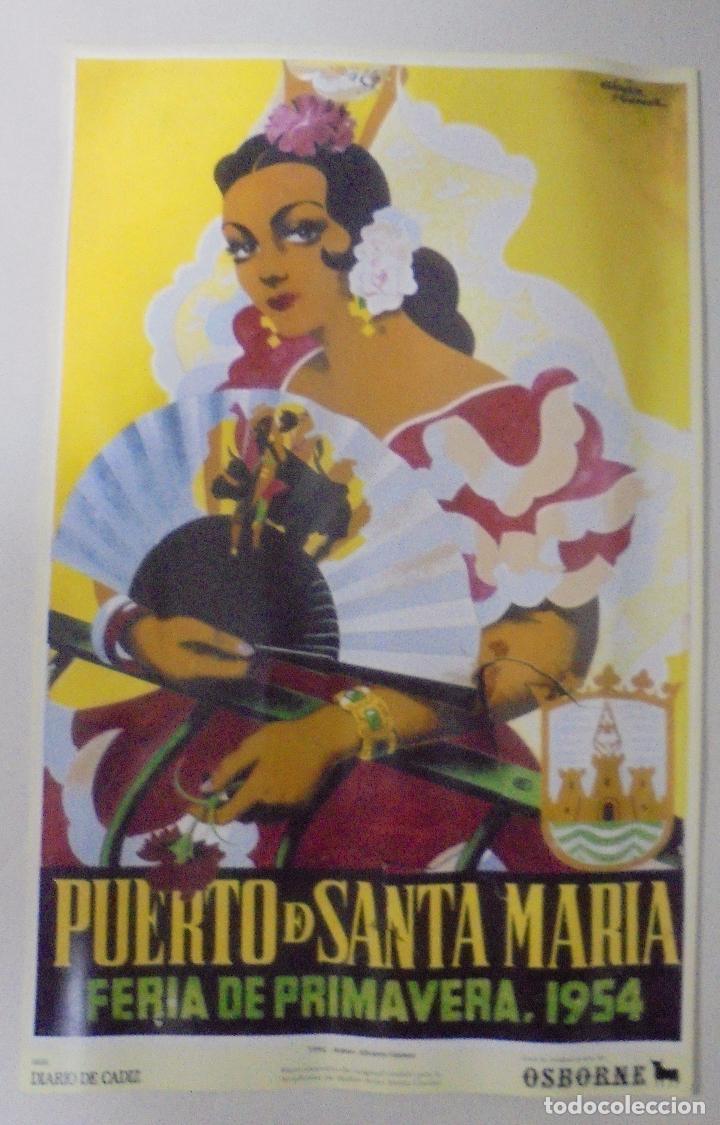 CARTEL. FERIA DE PRIMAVERA 1954. PUERTO DE SANTA MARÍA. REPRODUCCIÓN DIARIO DE CADIZ. 41,5X26,3CM (Coleccionismo - Reproducciones de carteles)