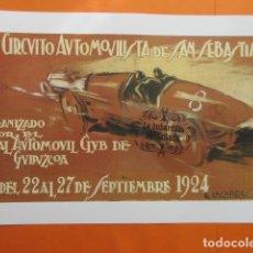 Coleccionismo de carteles: CARTEL REPRODUCCION PUBLICIDAD SAN SEBASTIAN II CIRCUITO AUTOMOVILISTA 1924 - TAMAÑO A3+ :330X483 MM. Lote 100221667