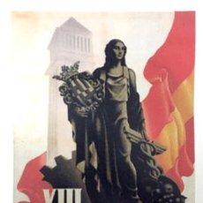 Coleccionismo de carteles: REPRODUCCION DE CARTEL XIII FERIA OFICIAL E INTERNACIONAL DE MUESTRAS BARCELONA. LAMIGRANDE-110 ,5. Lote 117001659