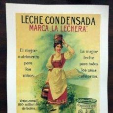 Colecionismo de cartazes: REPRODUCCION DE CARTEL LECHE CONDENSADA, MARCA LA LECHERA. 48X33CM. LAMIGRANDE-050 ,5. Lote 107562895
