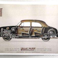 Coleccionismo de carteles: REPRODUCCION CARTEL FIAT 1400, SEZIONE DELLA VETTURA. 29,5 X 42 CM. LAMIGRANDE-171 ,5. Lote 160578321