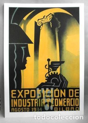 REPRODUCCION CARTEL EXPOSICION DE INDUSTRIA Y COMERCIO, AGOSTO 1934 BILBAO. 28,4X42,4CM. (Coleccionismo - Reproducciones de carteles)