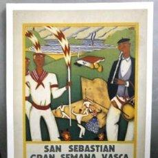 Collectionnisme d'affiches: REPRODUCCION CARTEL GRAN SEMANA VASCA, SAN SEBASTIAN, JULIO 1929. 29,3X42,3CM. LAMIGRANDE-261 ,5. Lote 119952487
