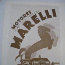 Coleccionismo de carteles: CARTEL PUBLICIDAD MOTORES MARELLI. 1930 (REPRODUCCIÓN FACSÍMIL). 22X17 CM. Lote 219959165