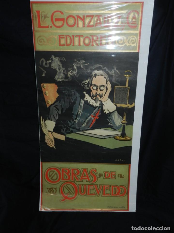 (M) CARTEL ORIGINAL ILUSTRADO POR A UTRILLO - L GONZALEZ Y CIA EDITORES ,OBRAS DE QUEVEDO (Coleccionismo - Reproducciones de carteles)