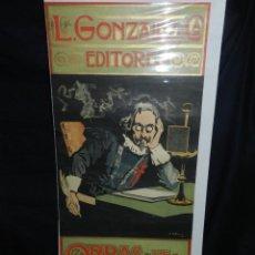 Coleccionismo de carteles: (M) CARTEL ORIGINAL ILUSTRADO POR A UTRILLO - L GONZALEZ Y CIA EDITORES ,OBRAS DE QUEVEDO. Lote 135202846