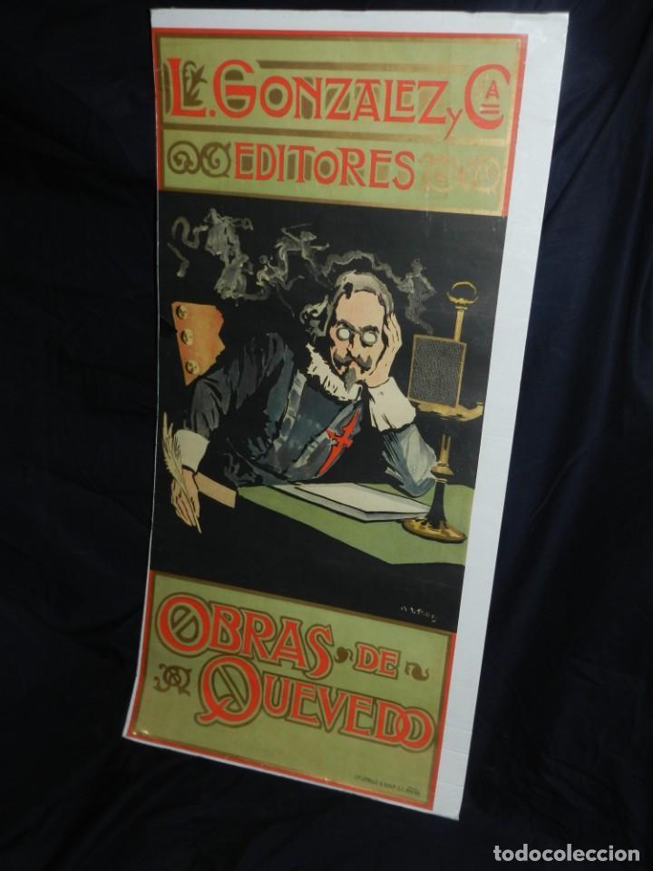 Coleccionismo de carteles: (M) CARTEL ORIGINAL ILUSTRADO POR A UTRILLO - L GONZALEZ Y CIA EDITORES ,OBRAS DE QUEVEDO - Foto 2 - 135202846