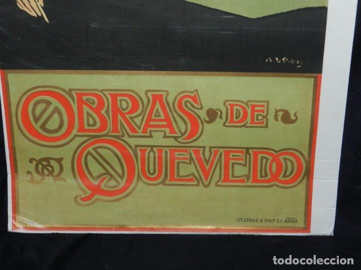 Coleccionismo de carteles: (M) CARTEL ORIGINAL ILUSTRADO POR A UTRILLO - L GONZALEZ Y CIA EDITORES ,OBRAS DE QUEVEDO - Foto 7 - 135202846