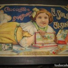 Coleccionismo de carteles: CARTEL REPRODUCCION CHOCOLATES BOMBONES A. SOLE ALSINA. BARCELONA. Lote 135613530