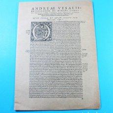 Coleccionismo de carteles: FACSIMIL ANDREAE VESALII BRUXELLENSIS, LABORATORIOS BAMA 68 X 49 DESPLEGADO, INCLUYE 3 CARTELES. Lote 137888482