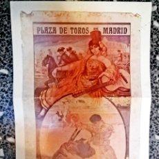 Coleccionismo de carteles: CARTEL ANTIGUO DE - PLAZA DE TOROS DE MADRID 1913 - REPRODUCCION FIEN - TAMAÑO 52 X 25 CMS. Lote 221980902