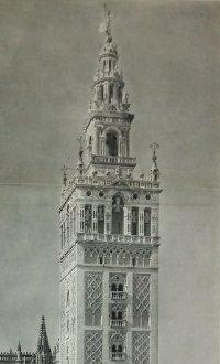 La Giralda. Sevilla. Antigua reproducción desplegable con coches de época. Foto Llado 85,5x34cm