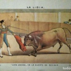 Coleccionismo de carteles: LAMINA. MOTIVOS TAURINOS. CARA ANCHA EN LA SUERTE DE RECIBIR. J. PALACIOS. FACSIMIL.. Lote 154567690